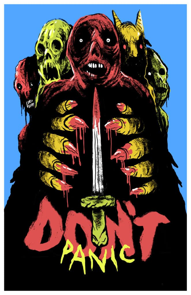 Don't Panic Poster for The Laser Blast Film Society Screening
